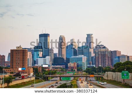 Downtown Minneapolis, Minnesota early in the morning - stock photo