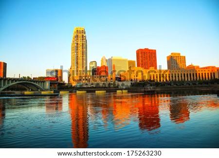 Downtown Minneapolis, Minnesota in the morning - stock photo