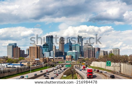 Downtown Minneapolis, Minnesota on a cloudy day - stock photo