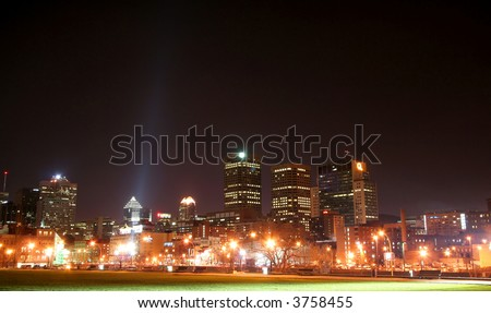 Downtown Montreal at night - stock photo