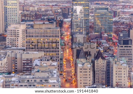 Downtown Montreal at Night in Winter - stock photo