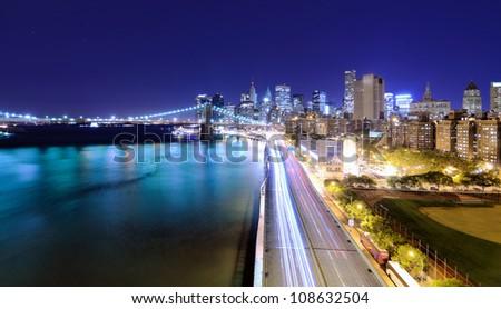 downtown new york city skyline - stock photo