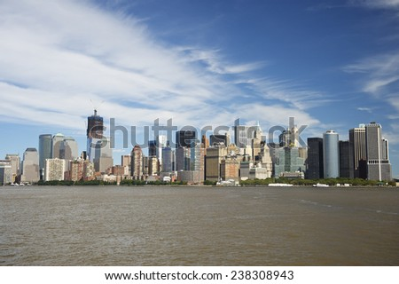 Downtown New York City skyline from New York Harbor