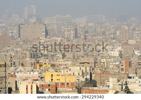 Downtown of Cairo seen from the Saladin Citadel (Egypt) - stock photo