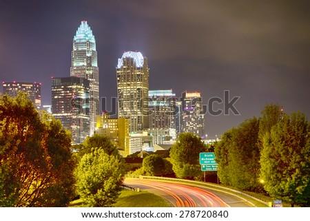 Downtown of Charlotte  North Carolina skyline - stock photo