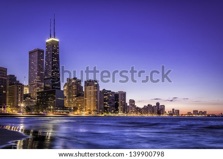 Downtown of Chicago skyline by dusk - stock photo