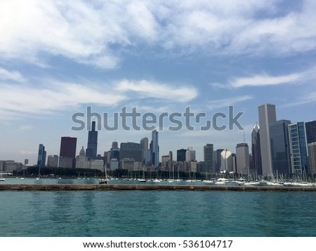 Downtown of Chicago with blue sky and blue sea