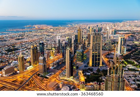 Downtown of Dubai as seen from Burj Khalifa tower - stock photo