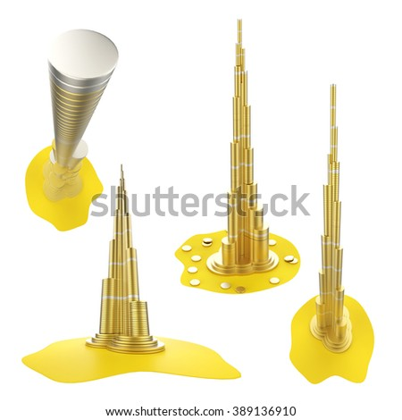 Downtown of DUBAI in the United Arab Emirates- Burj Khalifa. The symbols of the city skyscrapers hotels - stock photo