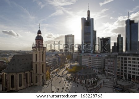 Downtown of Frankfurt am Main with tilt-shift lens effect