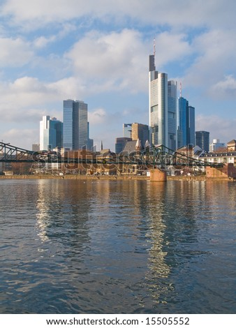 Downtown of Frankfurt reflected in the river