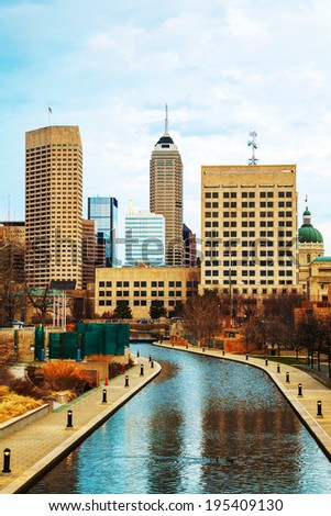 Downtown of Indianapolis in the evening time - stock photo