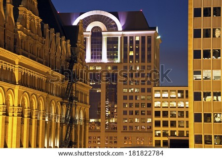 Downtown of Milwaukee, Wisconsin - buildings at night. - stock photo