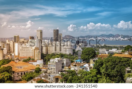 Downtown of Rio de Janeiro with sunshine leaks, Brazil - stock photo
