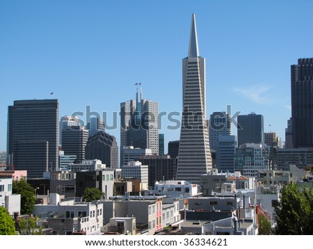 downtown of san francisco city - stock photo