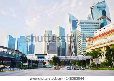 Downtown of Singapore in the morning - stock photo