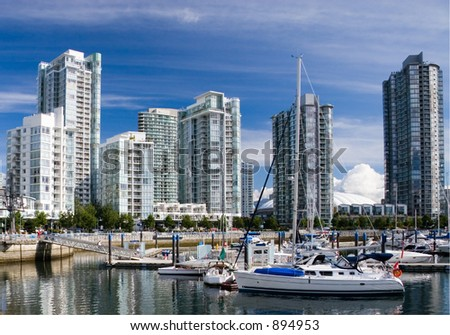 Downtown of Vancouver. Marina. - stock photo
