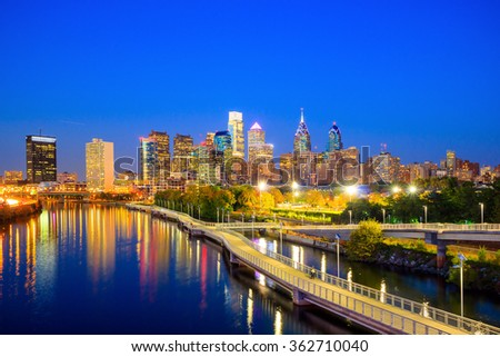 Downtown  Philadelphia Skyline in Pennsylvania at twilight - stock photo