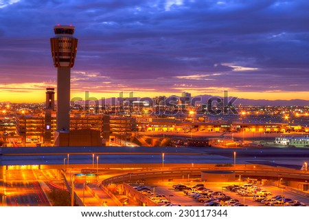 Downtown Phoenix highrise buildings at dawn. - stock photo