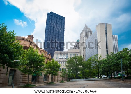 Downtown Pittsburgh in the Summer. - stock photo