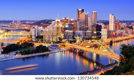 Downtown Pittsburgh, Pennsylvania at dusk. - stock photo