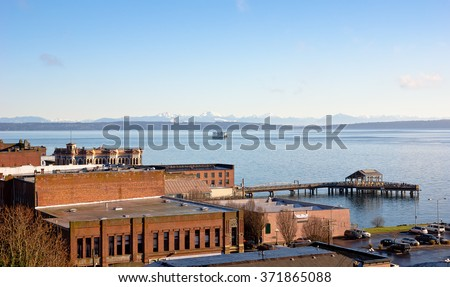 Downtown Port Townsend sits just northwest from Seattle on the other side of the Puget Sound.  - stock photo