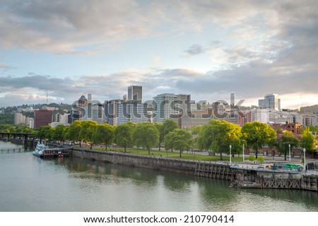 Downtown Portland cityscape in the evening at the sunset - stock photo
