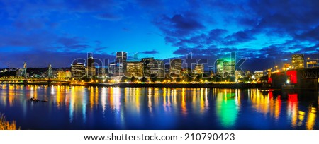 Downtown Portland, Oregon cityscape at the night time