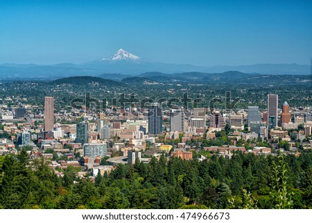 Downtown Portland, Oregon  USA from Pittock Mansion.