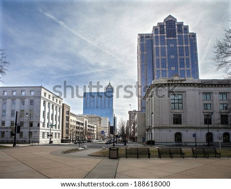 downtown Raleigh, North Carolina from street level, HDR image - stock photo