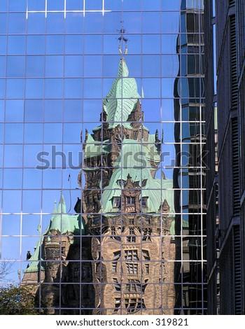 Downtown reflection, Ottawa, Canada - stock photo