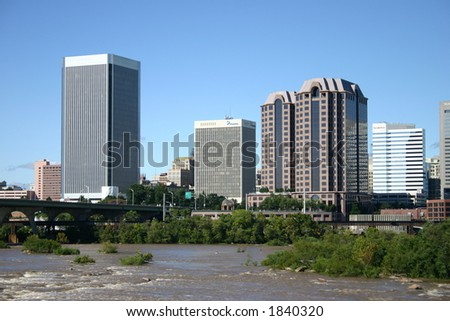 Downtown Richmond - View from the Flood Wall - James River Near Flood Level - stock photo