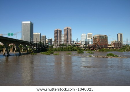 Downtown Richmond - View from the Flood Wall - James River Near Flood Level 6 - stock photo