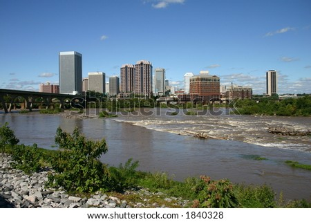 Downtown Richmond - View from the Flood Wall - James River Near Flood Level 8 - stock photo