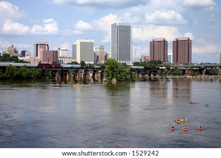Downtown Richmond Virginia - Train on the Bridge & Kayaks in the Water