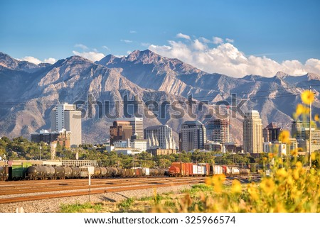 Downtown Salt Lake City skyline Utah in USA - stock photo