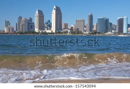 Downtown San Diego and San Diego Bay Waves, California USA - stock photo