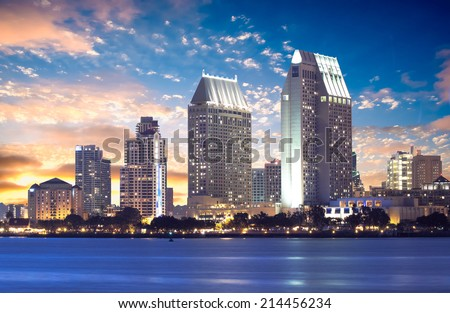 Downtown San Diego Cityscape Sunset, California USA - stock photo
