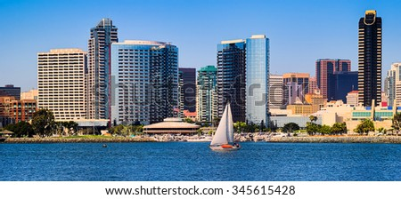 Downtown San Diego Panorama. California USA. - stock photo