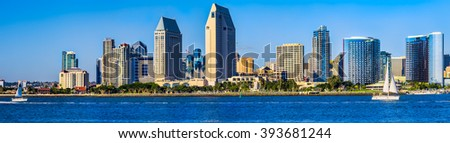 Downtown San Diego panorama.  San Diego, California USA. - stock photo