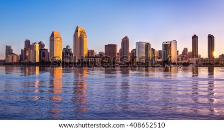 Downtown San Diego skyline at dawn.  San Diego, California USA. - stock photo