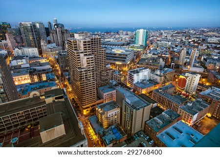 Downtown San Francisco city skyline at dusk - stock photo