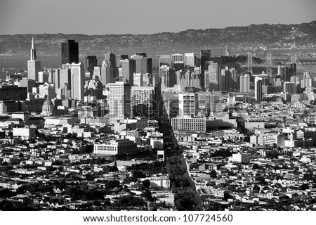 Downtown San Francisco viewed from Twin Peaks - stock photo