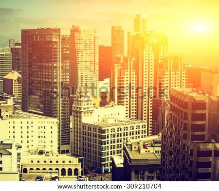 Downtown San Fransisco with dark Instagram filter - stock photo