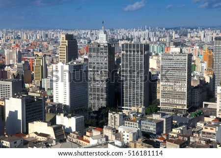 Downtown Sao Paulo Brazil, aerial view