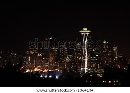 Downtown Seattle and Space Needle view from Queen Anne - stock photo