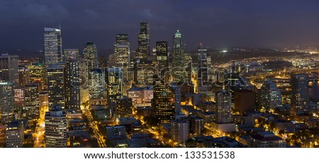 Downtown Seattle at Night - stock photo