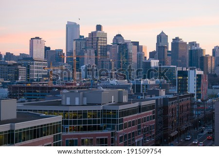 Downtown Seattle at Sunset - stock photo