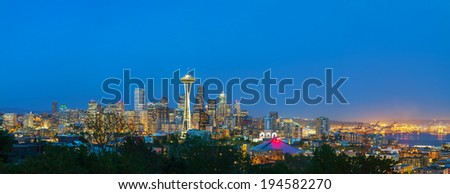 Downtown Seattle cityscape at night time as seen from the Kerry park - stock photo