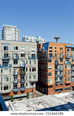 Downtown Seattle, WA-July14: Residential buildings. American architecture. Down town of Seattle, WA. July14, 2014 in Downtown Seattle, Washington, USA - stock photo